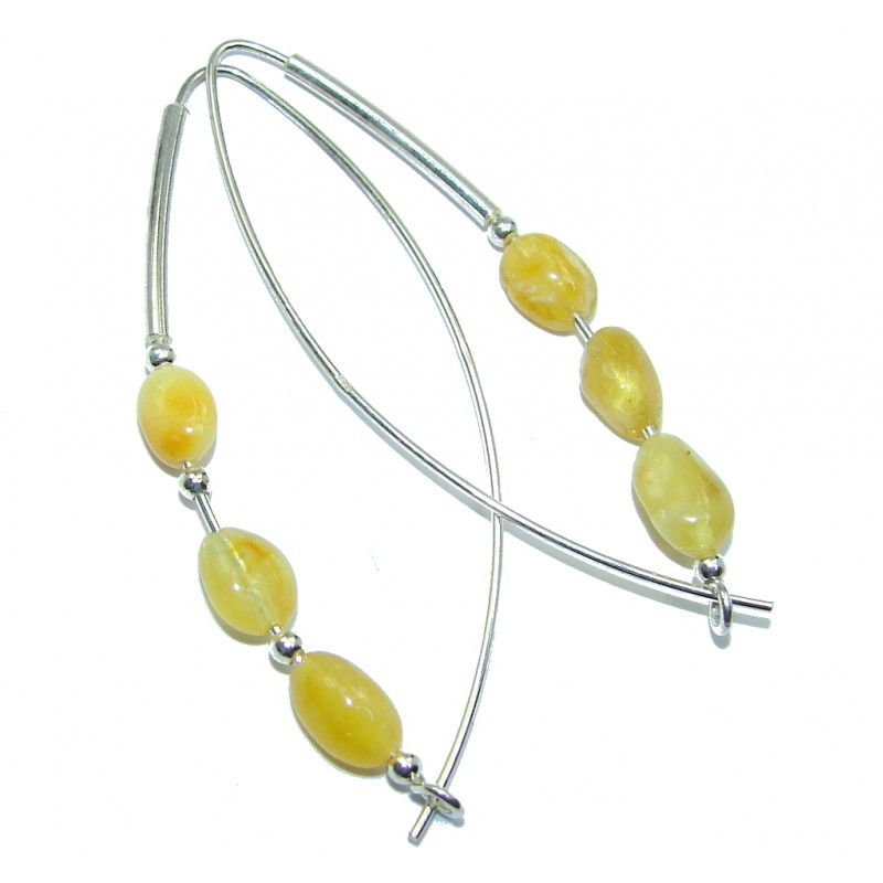 Genuine Long Butterscotch Baltic Polish Amber Sterling Silver Earrings