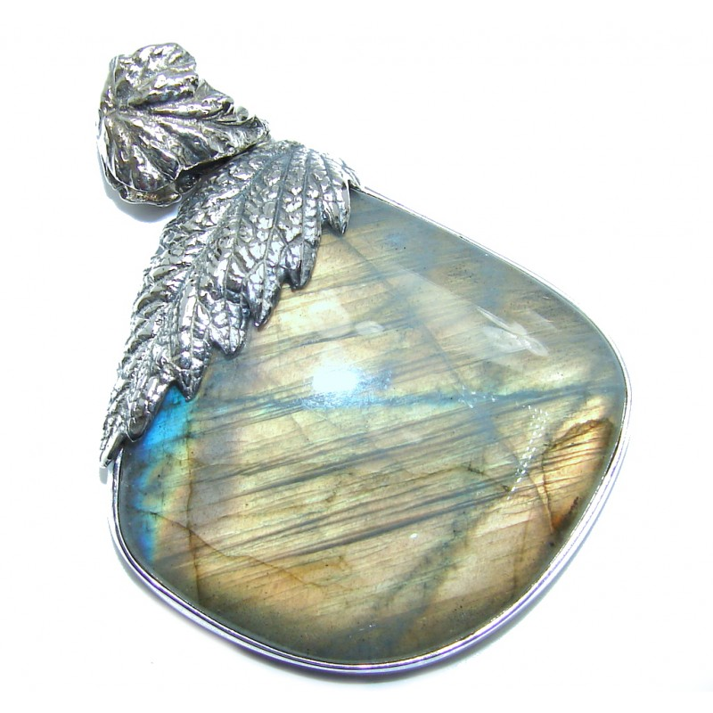Amazing Inner Fire Labradorite Sterling Silver Pendant