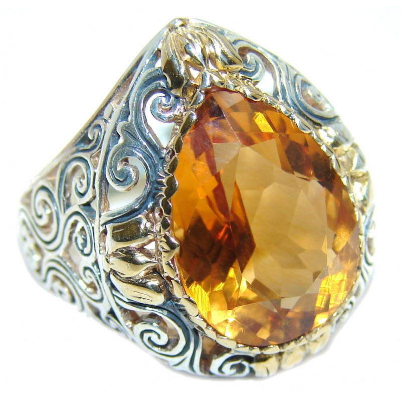 Pure Energy Golden Topaz Two Tones Sterling Silver Ring s. 7 1/2