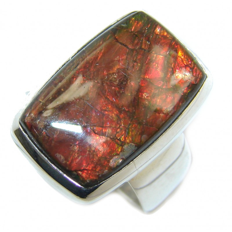 Wild Red Fire AAA Ammolite Sterling Silver ring size 7 1/2