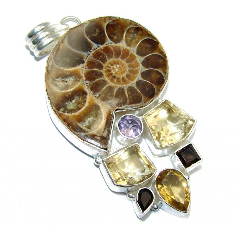 Back to Nature Brown Ammonite Fossil Sterling Silver Pendant