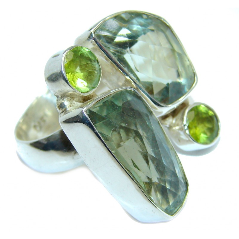 Secret AAA Light Green Amethyst Sterling Silver Ring s. 8 and up
