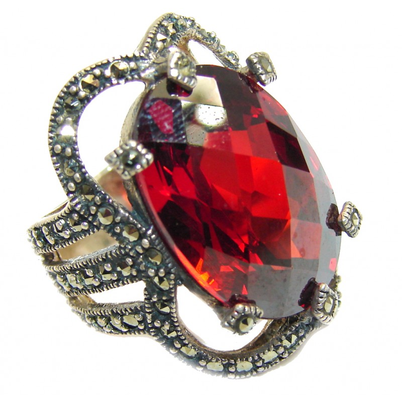 Amazing Red Quartz Marcasite Sterling Silver ring s. 6