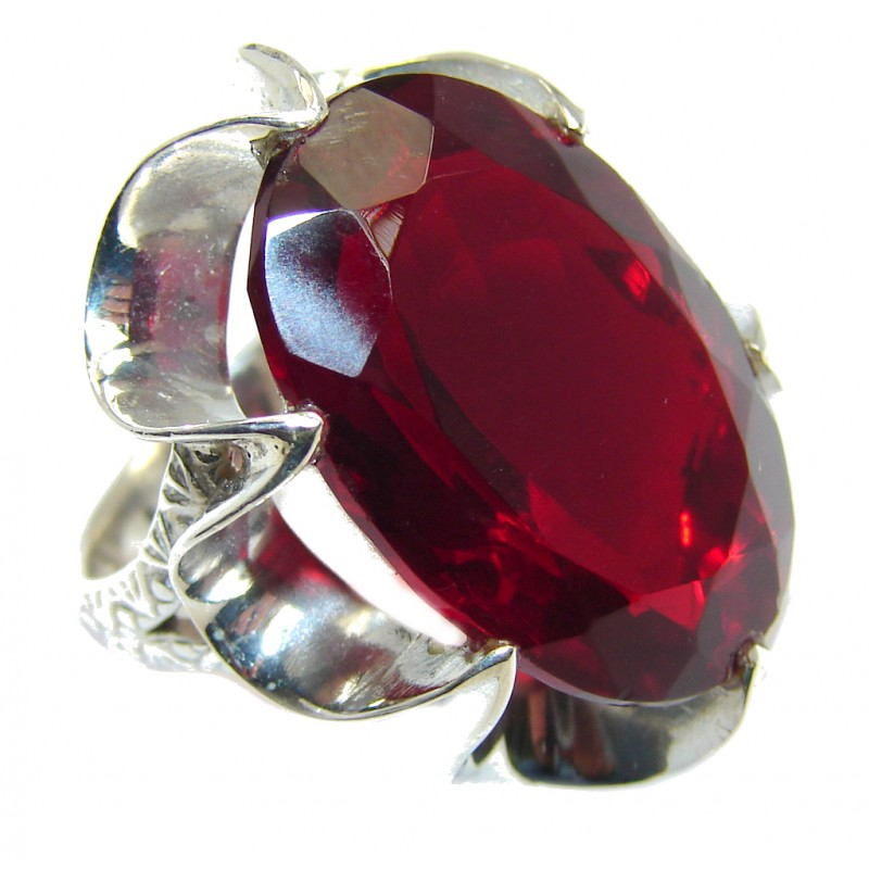 Amazing Red Quartz Sterling Silver ring s. 6