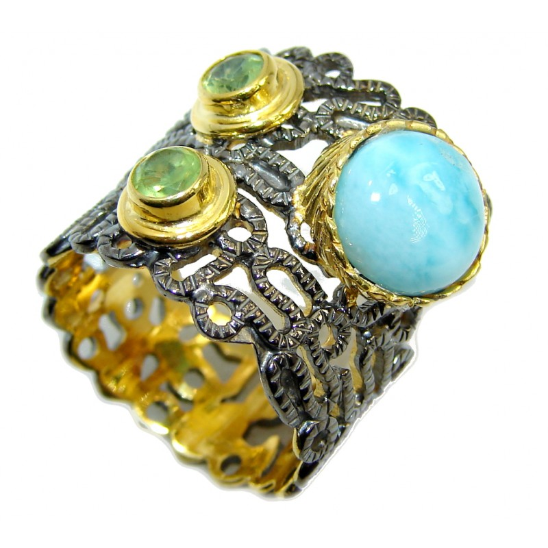 Big Genuine AAA Blue Larimar Gold & Rhodium over Sterling Silver Ring s. 8