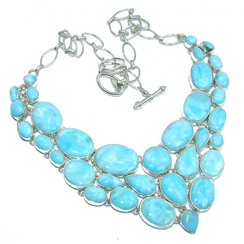 Huge Caribbean Style AAA Blue Larimar Sterling Silver necklace