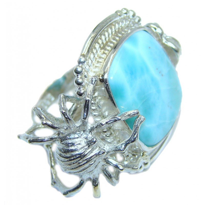 Under the Sea Blue Larimar Sterling Silver Ring size 6