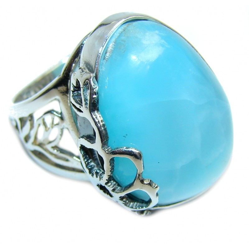 Amazing AAA quality Blue Larimar Sterling Silver Ring size adjustable