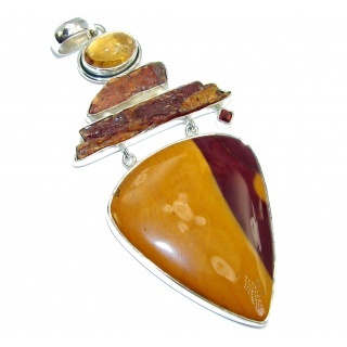 AAA Natural Australian Mookaite Rough Tourmaline Sterling Silver Pendant