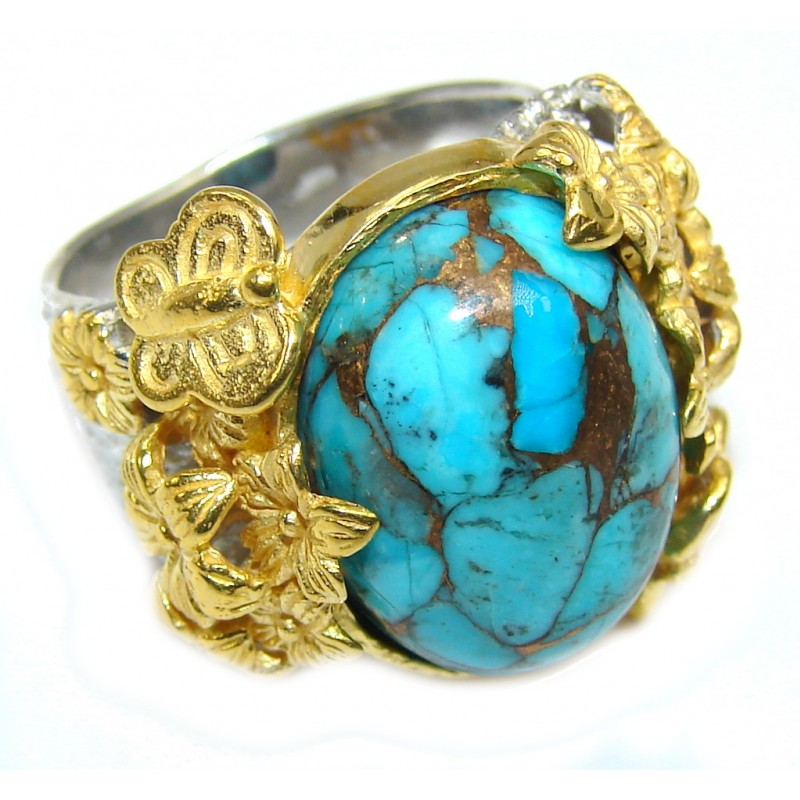 Amazing AAA Genuine Copper vains in Turquoise Two Tones Sterling Silver ring s. 7