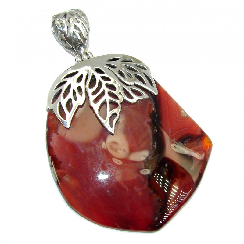 Large Orange Treasure Botswana Agate Sterling Silver Pendant