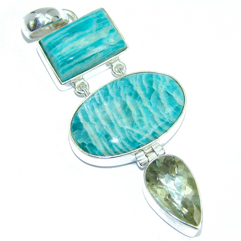 Great quality Amazonite Green Amethyst Sterling Silver Pendant