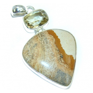 Large! Incredible Design AAA Picture Jasper Sterling Silver Pendant