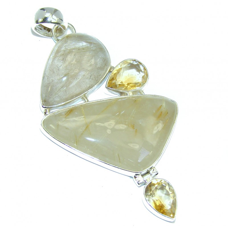Big himalayan golden rutilated quartz citrine sterling for Golden rutilated quartz jewelry