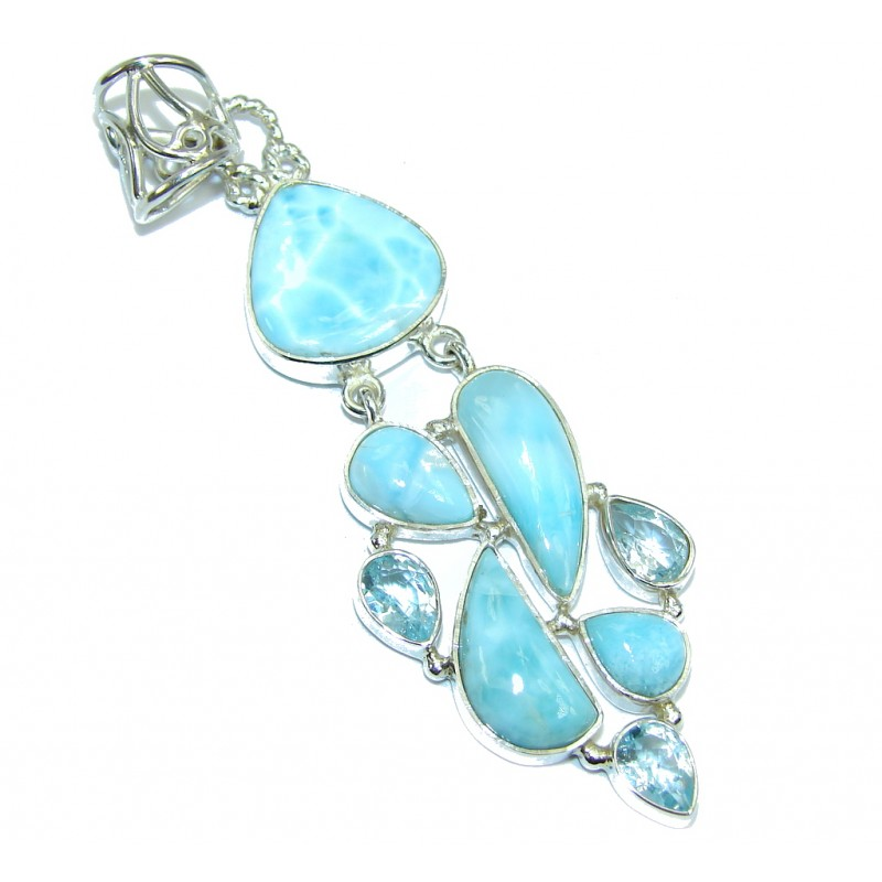 Sublime Genuine Blue Larimar Swiss Blue Topaz Sterling Silver Pendant