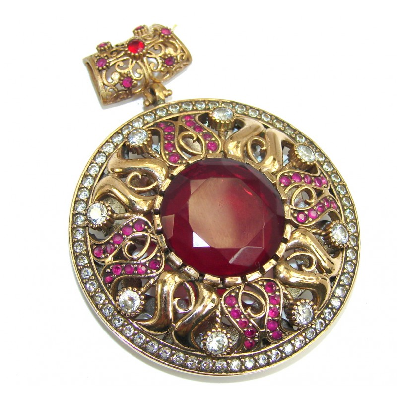 Perfect created Pink Ruby & White Topaz Copper over Sterling Silver Pendant
