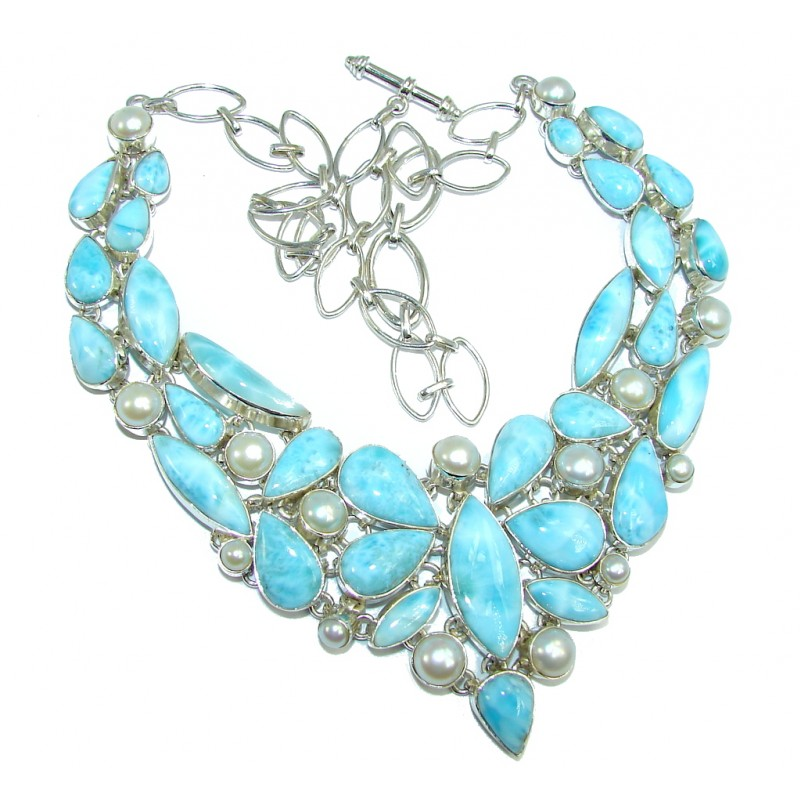 Huge Caribbean Style AAA Blue Larimar Pearls Sterling Silver necklace
