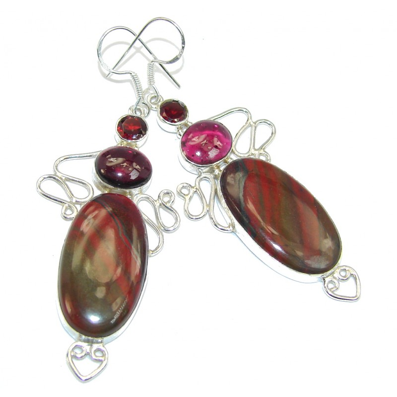 Handcrafted Red Jasper Sterling Silver earrings
