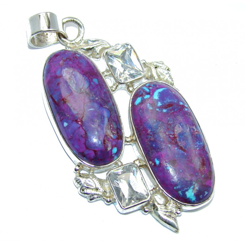 Genuine Purple Turquoise Sterling Silver Pendant