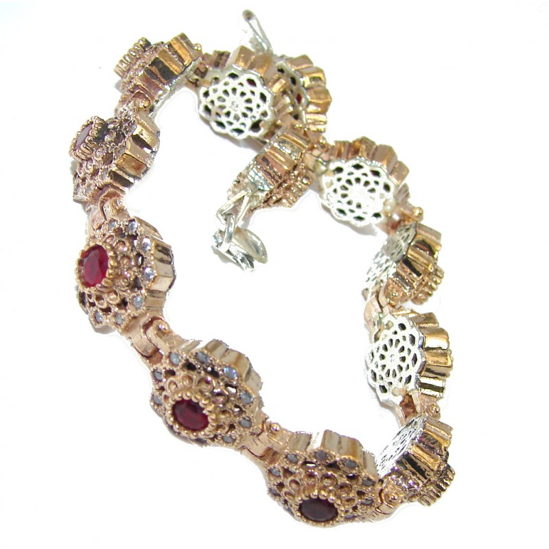 Victorian Style created Red Ruby & White Topaz Sterling Silver Bracelet