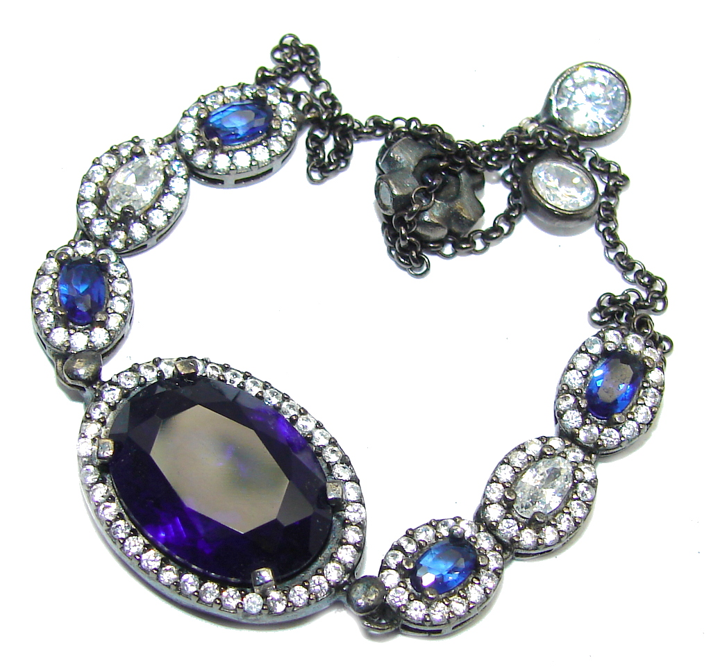 Victorian Style Created Sapphire Amp White Topaz Sterling