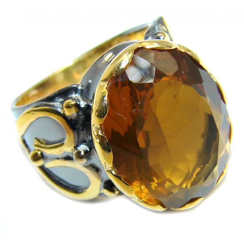 Big Secret Golden Topaz Gold Rhodium plated over Sterling Silver Ring s. 7 1/2