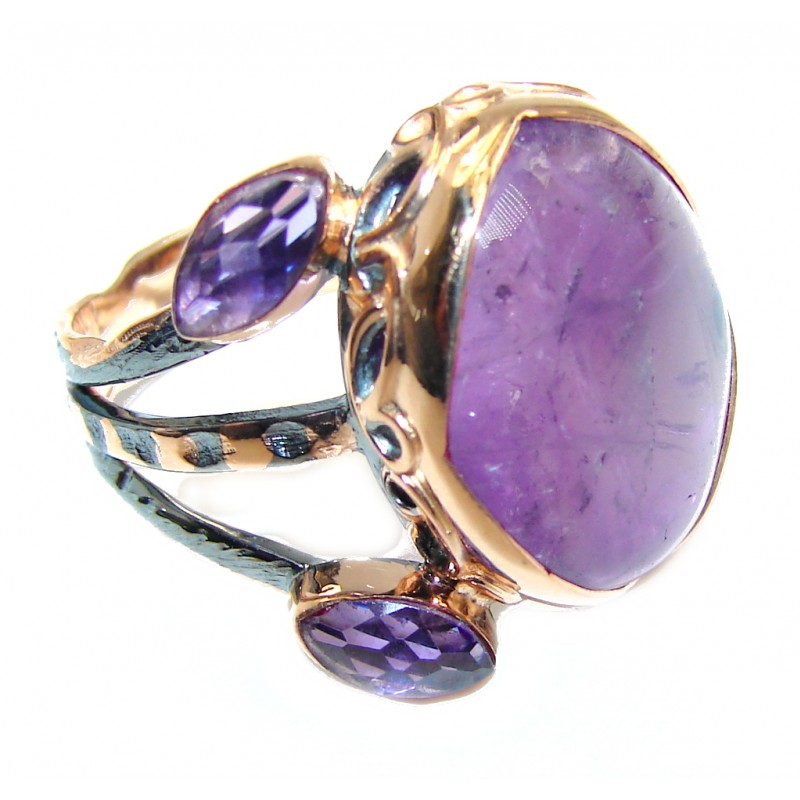 Secret Amethyst Gold Rhodium plated over Sterling Silver Ring s. 8