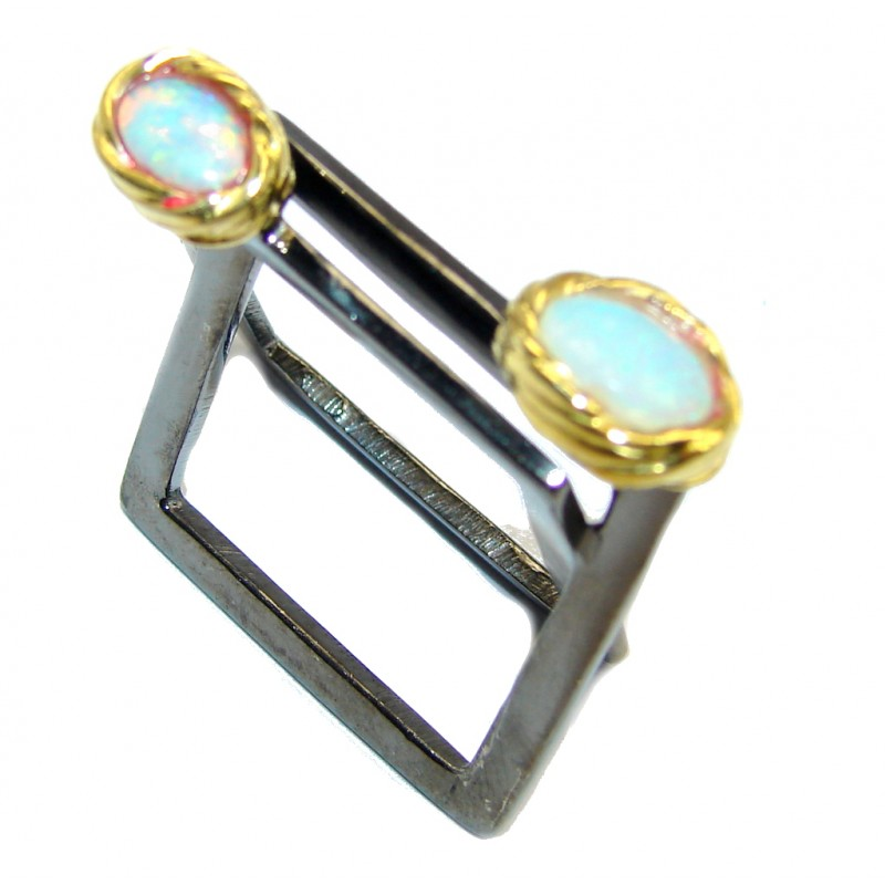Modern Design Ethiopian Fire Opal Gold over Sterling Silver ring s. 7