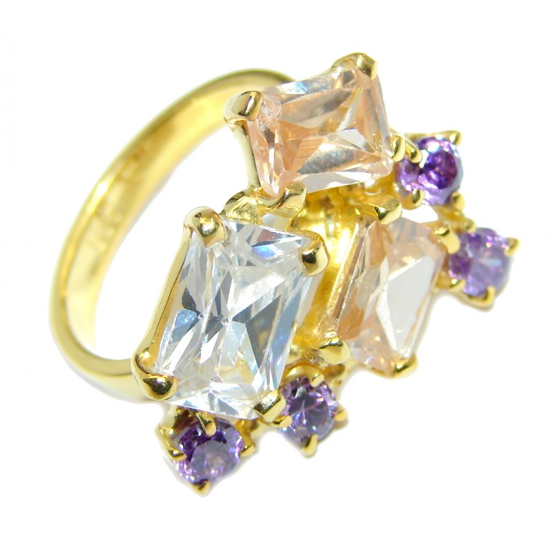 Great Beauty Cubic Zirconia Gold plated over Sterling Silver ring s. 7 1/2