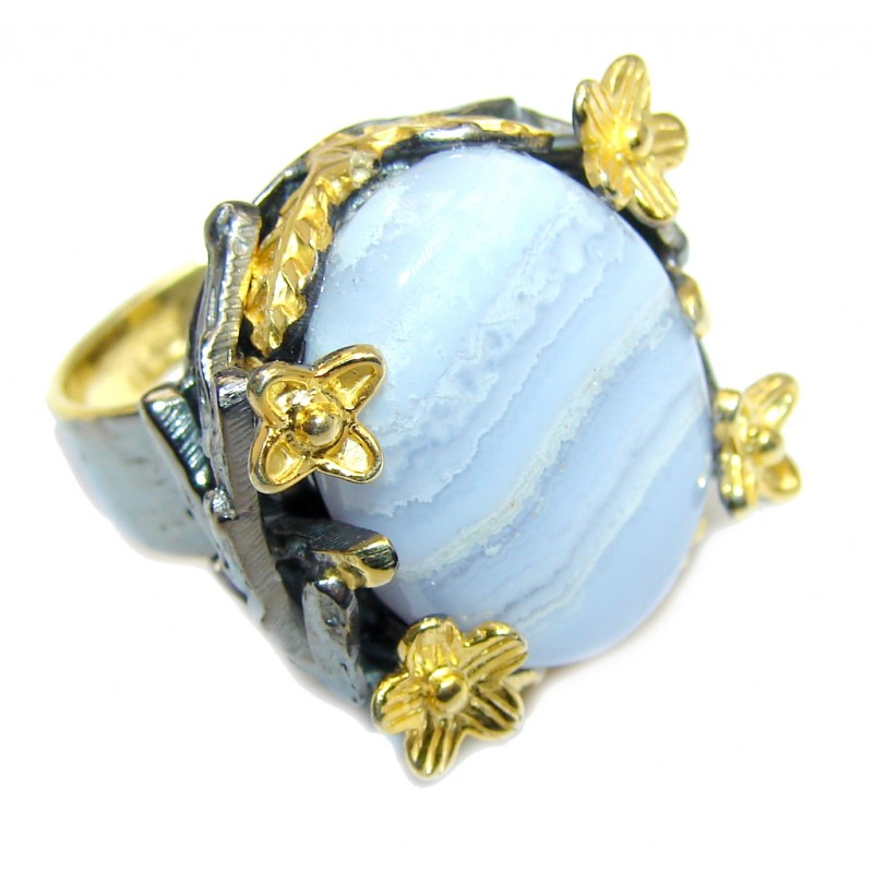 Delicate Light Blue Lace Agate Sterling Silver Ring s. 6
