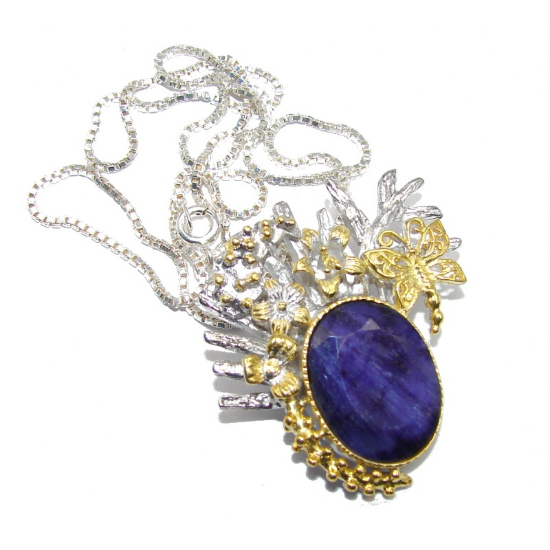 Amazing Genuine Sapphire Gold plated over Sterling Silver Necklace