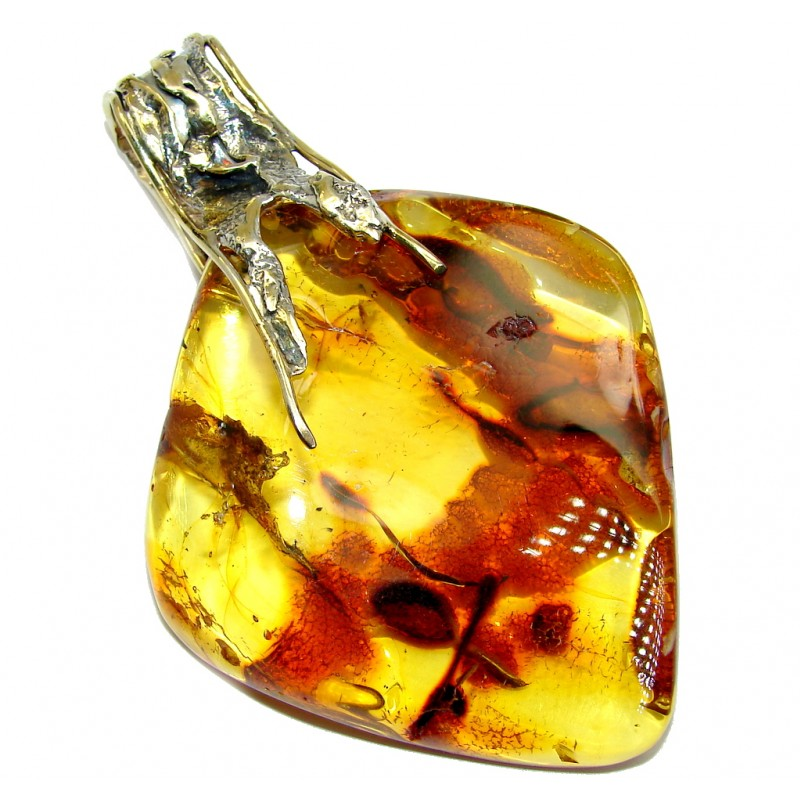 Twilight Zone Prehistoric Golden natural Baltic Amber Two tones Sterling Silver Pendant