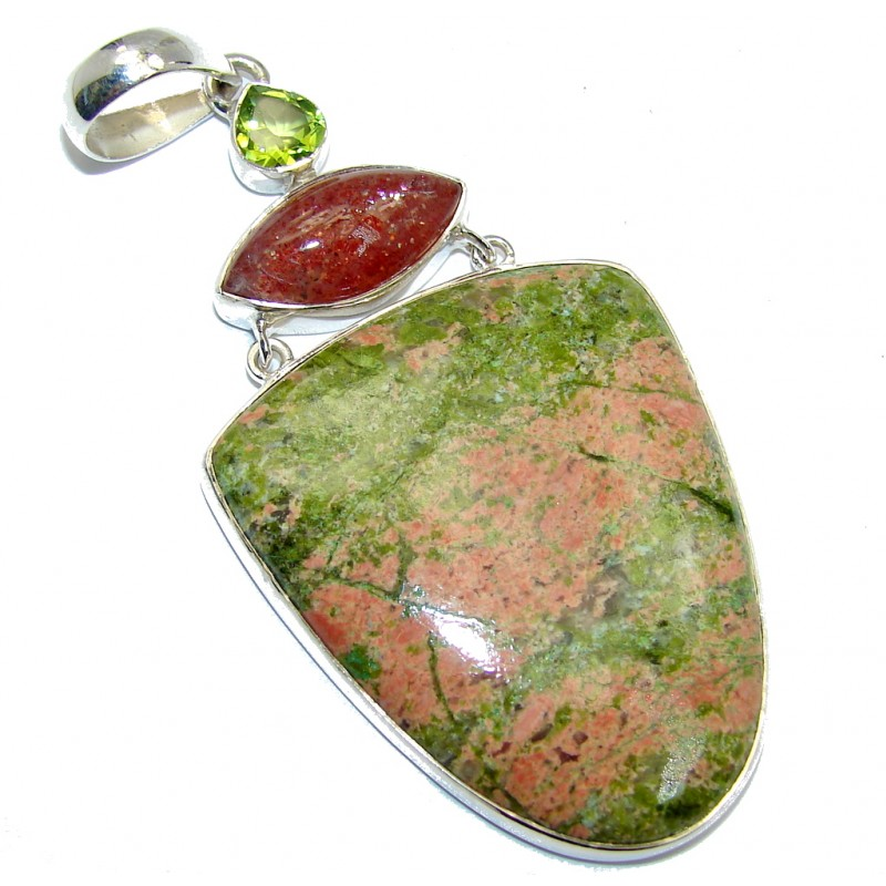 Big! Awesome Style Green Russian Unakite Sterling Silver Pendant