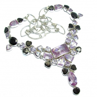 Super Chunky Lilac Beauty Cubic Zirconia Sterling Silver necklace