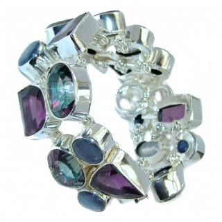 Chunky Rainbow Magic Topaz Kyanite Amethyst Sterling Silver Bracelet