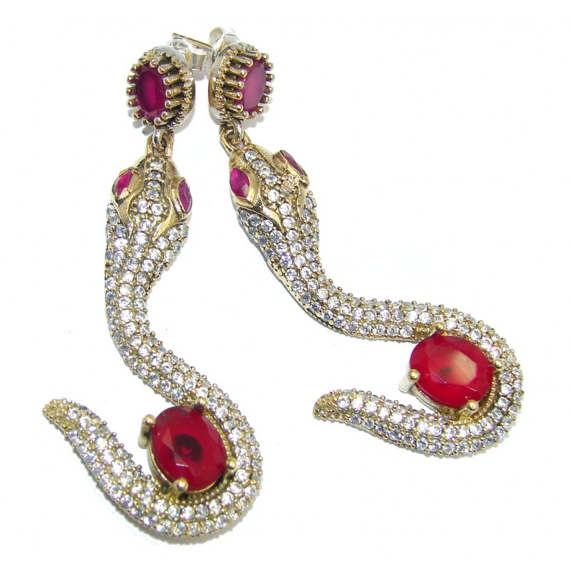 Victorian Style Snakes created Red Ruby & White Topaz Sterling Silver earrings