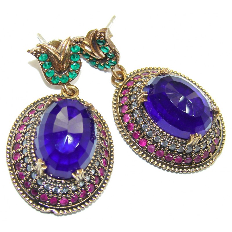 Large Victorian Style created Sapphire Ruby Sterling Silver Earrings