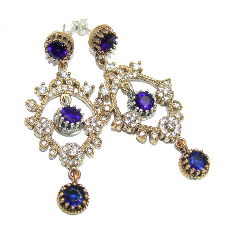 Chandelier Victorian Style created Sapphire Ruby Sterling Silver Earrings