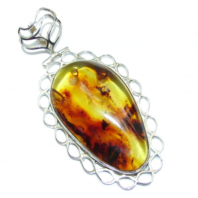 Twilight Zone Prehistoric Golden natural Baltic Amber Sterling Silver Pendant