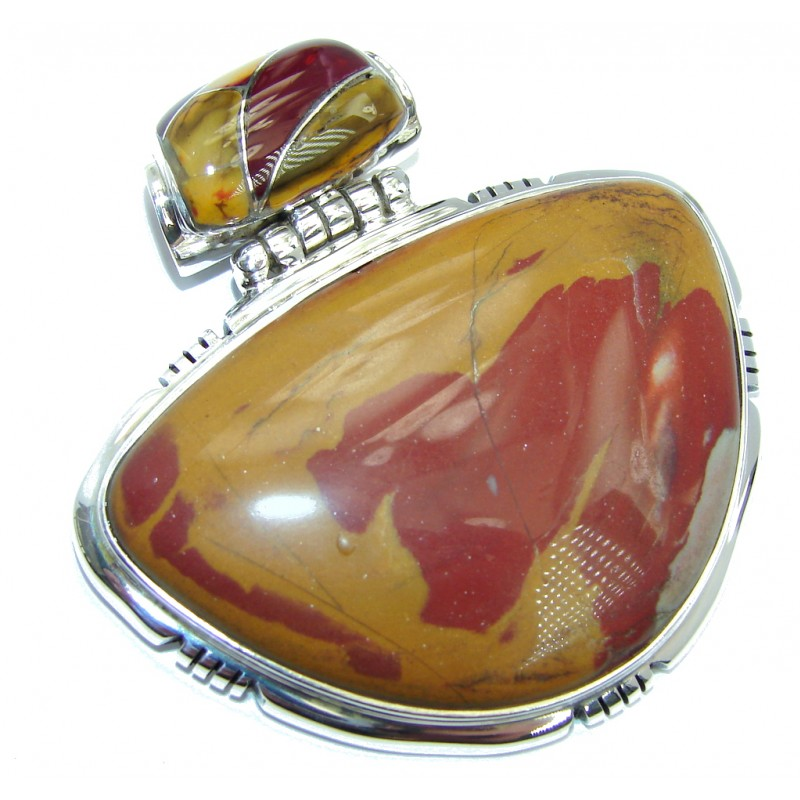 Orange Aura Natural Australian Mookaite Sterling Silver Pendant
