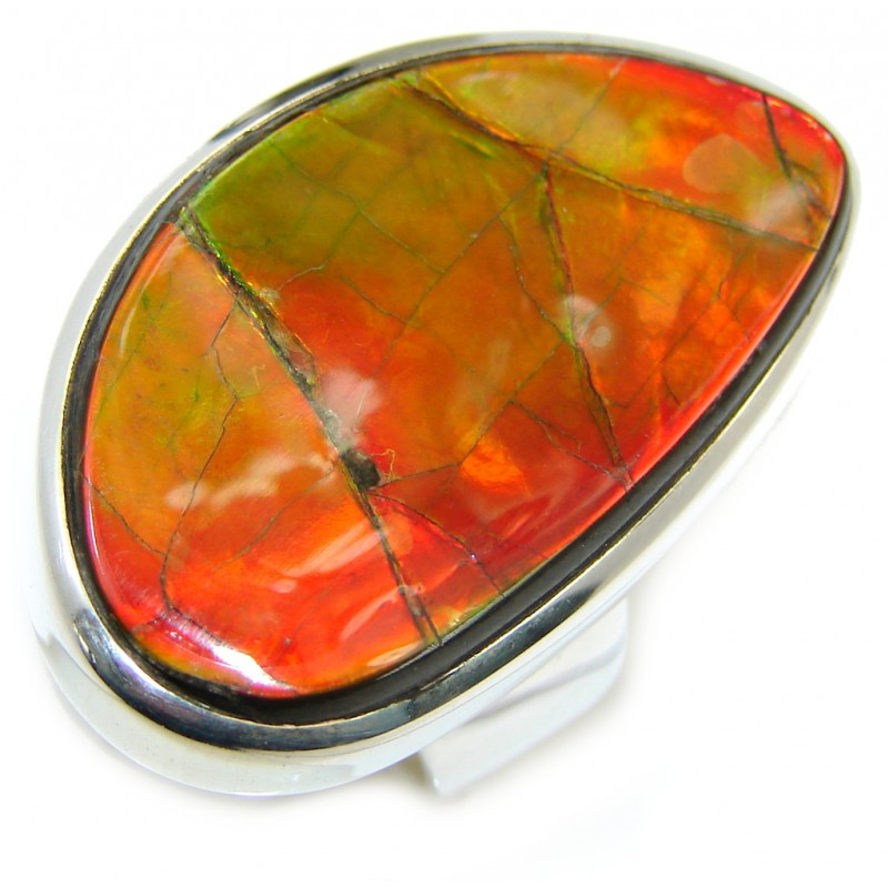 Wild Red Fire Genuine AAA Ammolite Sterling Silver ring size 8