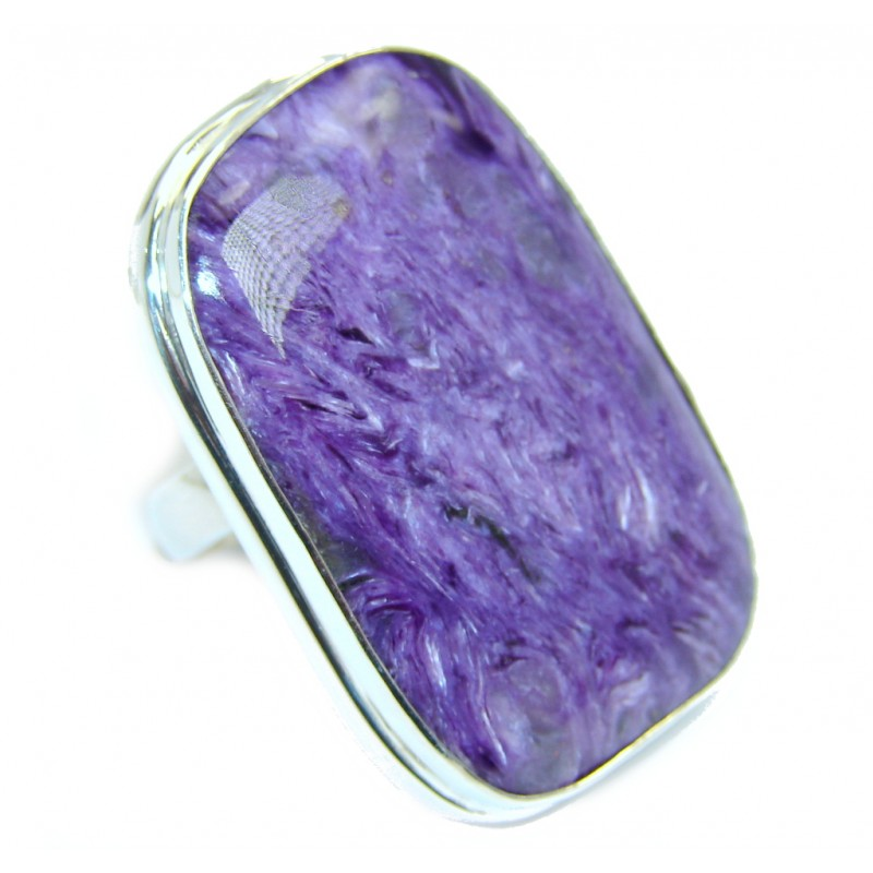 Big Beautiful AAA Purple Charoite Sterling Silver Ring size adjustable