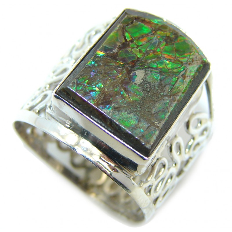 Wild Red Fire AAA Ammolite Sterling Silver ring size 11