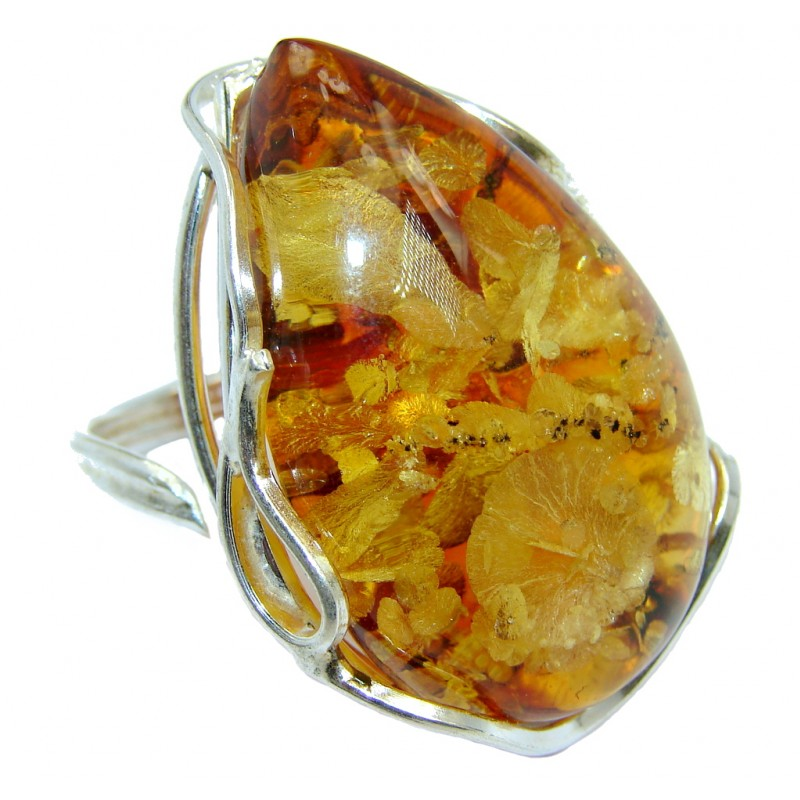 Chunky Genuine Polish Amber Gold plated Sterling Silver Ring s. adjustable