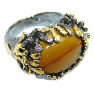 Gorgeous Style AAA Mookaite Jasper, Gold Plated, Rhodium Plated Sterling Silver Ring s. 7 1/2