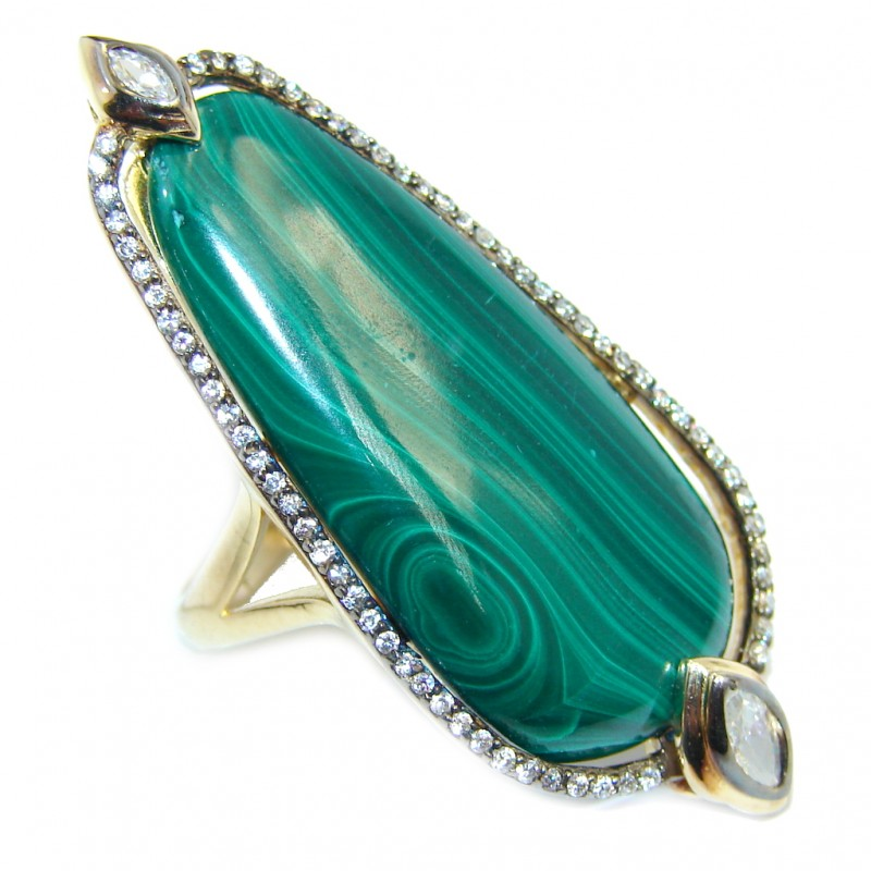 Beautiful AAA Green Malachite & White Topaz Gold PLated Sterling Silver ring s. 8
