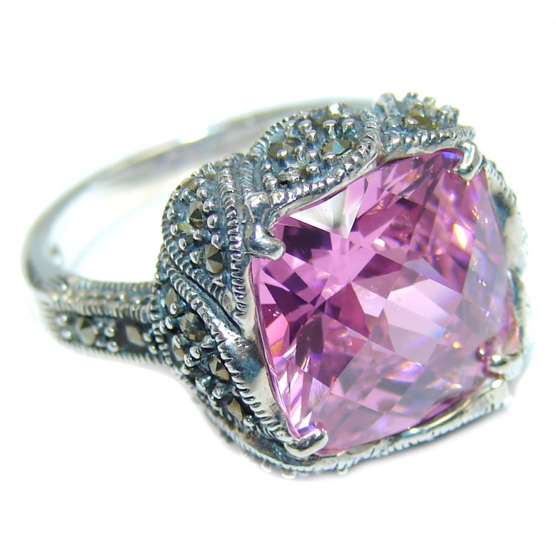 Amazing Pink Rose Cubic Zirconia Sterling Silver Ring s. 7