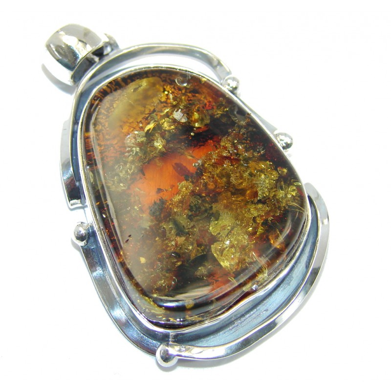 Natural Prehistoric Baltic Amber Sterling Silver Pendant