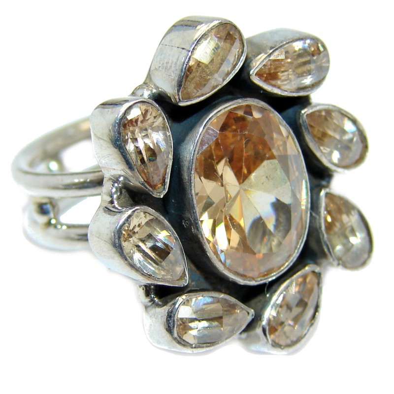 Great Beauty Golden Cubic Zirconia Marcasite Sterling Silver ring s. 9