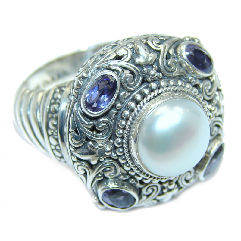 Rich Design Pearl Tanzanite Bali made Sterling Silver ring s. 7